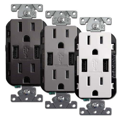 USB Wall Outlet - 2 Port 15A Duplex TR Leviton