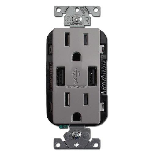 USB Charger Duplex Outlet - 2 Port 15A TR Leviton - Gray