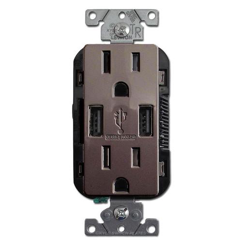 USB Charger Duplex Outlet - 2 Port 15A TR Leviton - Brown