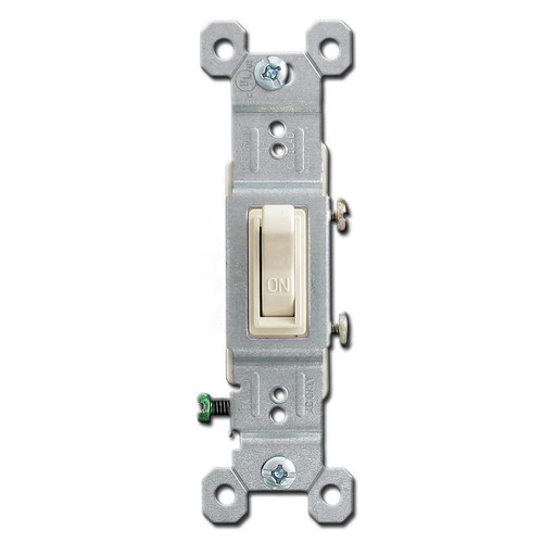 Toggle Electrical Switch - Light Almond 15 Amp