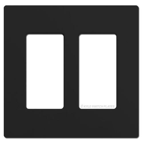 2 Rocker GFCI Screwless Switch Plate Lutron - Black Plastic