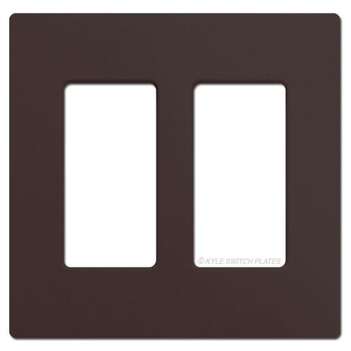 2 Rocker GFCI Screwless Switchplate Lutron - Brown Plastic