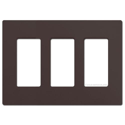3 Rocker GFCI Outlet Screwless Light Plate Lutron - Brown Plastic