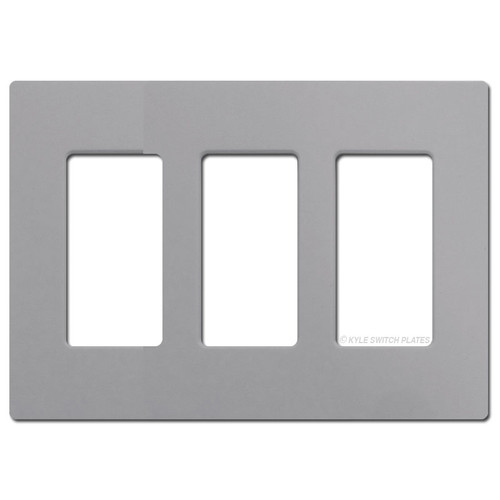 3 Rocker GFCI Outlet Screwless Switch Plate Lutron - Gray Plastic