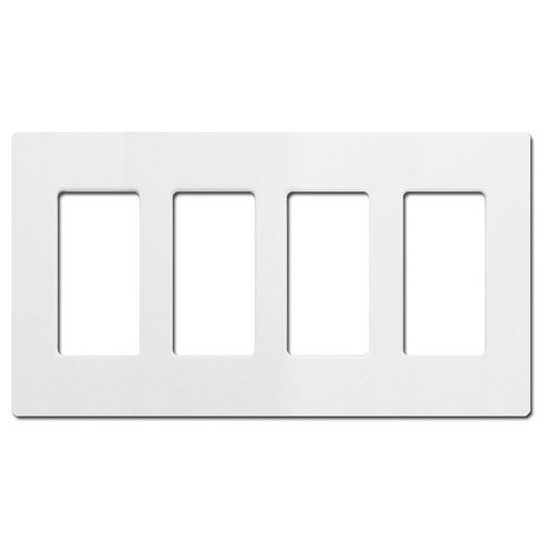4 Decor Screwless Switch or Outlet Cover Lutron - White Plastic