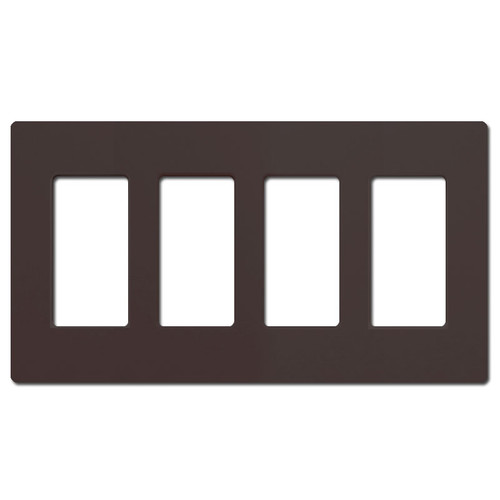 Screwless 4 Decor Rocker Switch Cover Lutron - Brown Plastic
