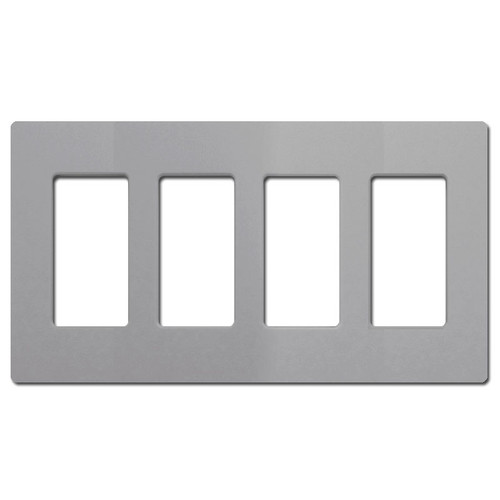Screwless 4 Decor Rocker Switchplate Cover Lutron - Gray Plastic