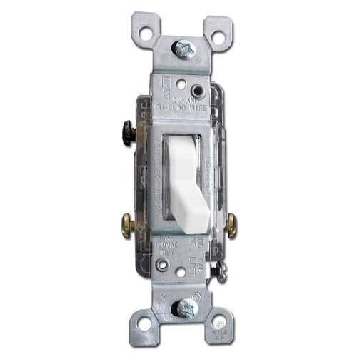 Lighted 3-Way Toggle Light Switch Leviton 15A White
