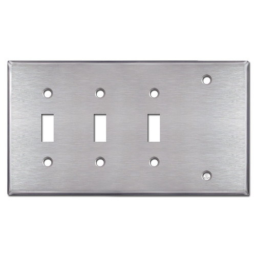 3-Toggle 1-Blank Light Switch Cover - Stainless Steel