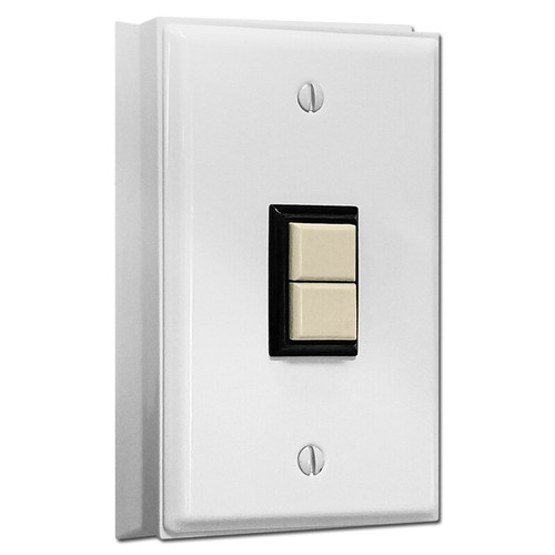 GE Low Voltage 1 Switch Surface Mount Wall Plate Unit - White with Ivory Switch