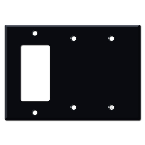 1 Decor Rocker 2 Blank Wall Plate Covers - Black