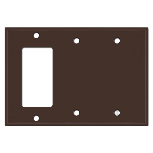1 Rocker 2 Blank Light Switch Covers - Brown