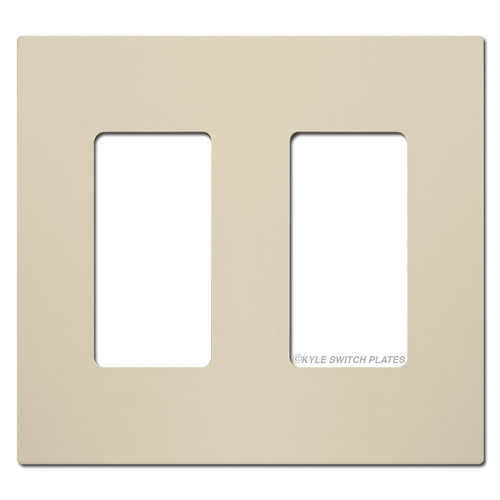 Touch-Plate Screwless Double Light Switch Covers - Almond