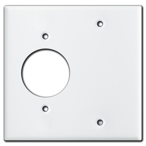 220 Outlet + Blank Wall Plate Cover - White