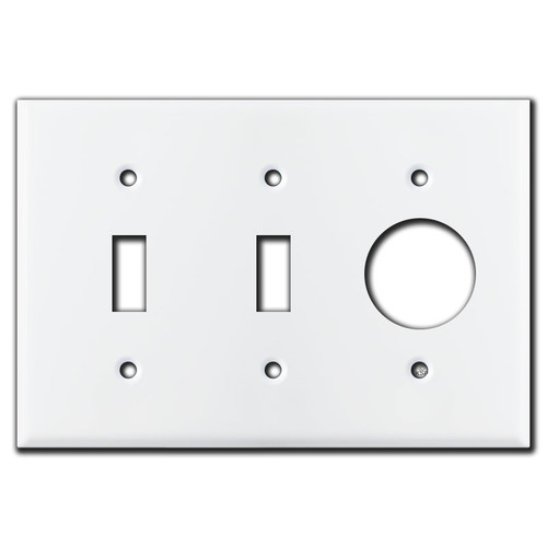 Toggle Toggle + Round Outlet Cover Switch Wallplate - White