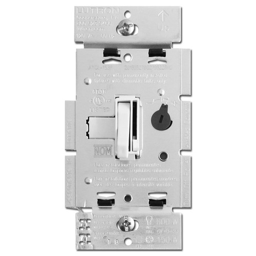 White Toggle Dimmer LED CFL Incandescent S/P or 3W Lutron