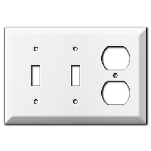 Switch Plate for 2 Toggle / 2 Horizontal Toggle Switches - White