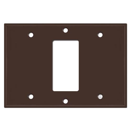 3 Gang Centered Rocker Light Switch Plate Cover - Brown