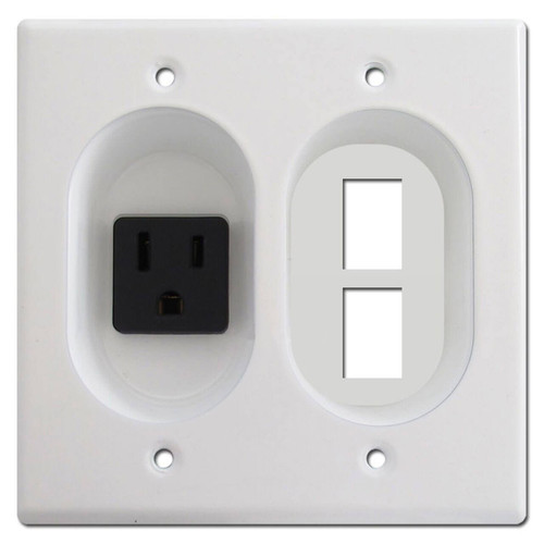 2-Gang Recessed 15A Outlet + 2 Jack Port Wall Plate