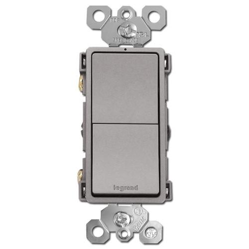 Nickel Stacked Rocker Switch Single Pole/3 Way