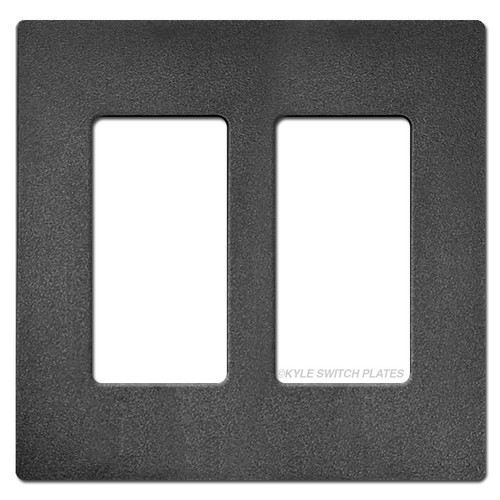 Double Rocker GFCI Screwless Wallplate Lutron - Black Satin