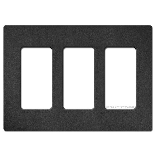 3 Rocker GFI Screwless Wall Switch Plate Lutron - Black Satin