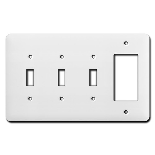 Tall 3 Toggle 1 Decor Outlet Cover Switch Plates - White