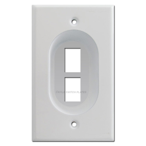 Recessed 2-Port Keystone Outlet Cover Wall Plates
