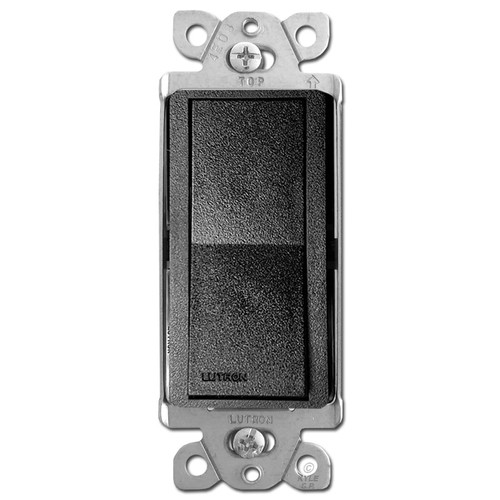 Satin Black Rocker Light Switch - Lutron Midnight