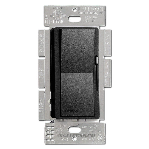 Satin Black Rocker Dimmer Switch - CFL LED Incandescent Lutron