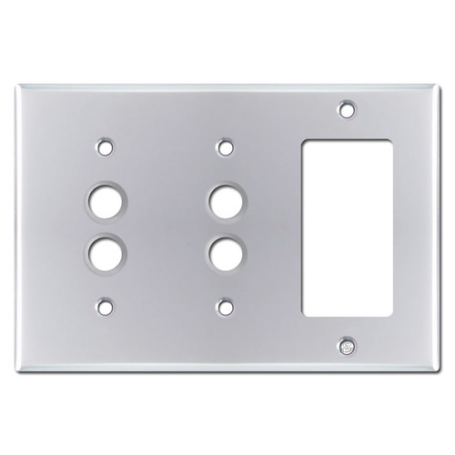 2 Push Button 1 Decor GFCI Wall Plates - Polished Chrome