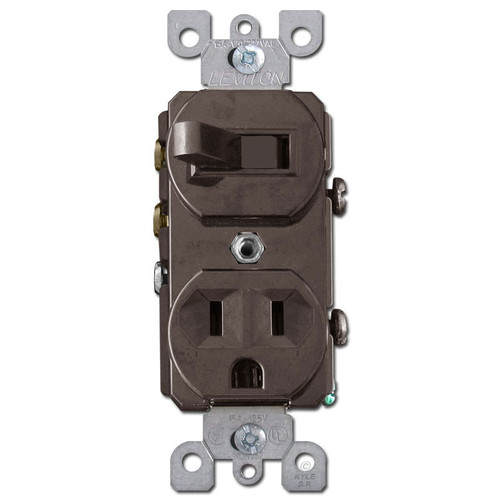 Stacked Receptacle + 3-Way Toggle Switch Leviton - Brown