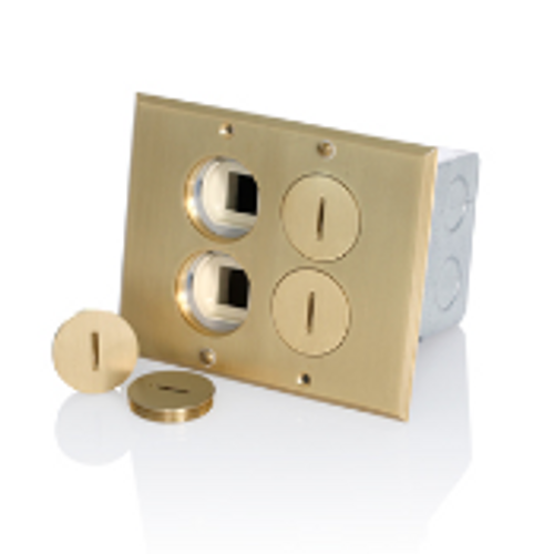 2-Gang Duplex Floor Outlet 15A + QuickPort Jacks Brass Cover Leviton