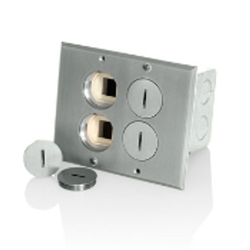 Combo Floor Outlets 15A + 2 Data Jack Ports Nickel Leviton