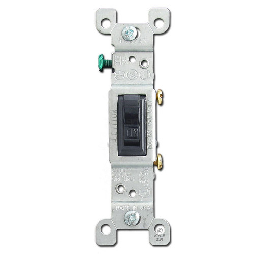 Black 15A Leviton Toggle Light Switch