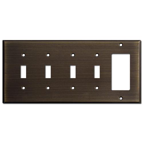 1 Decora 4 Toggle Switch Plate - Oil Rubbed Bronze