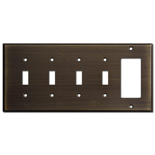 1 Decora 4 Toggle Switch Plate - Oil Rubbed Bronze