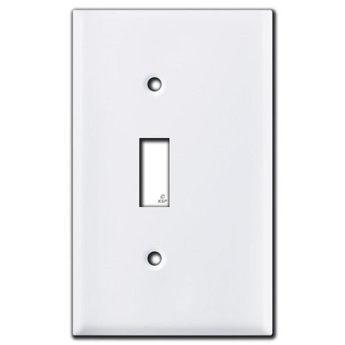 Half Trimmed 1 Toggle Light Switch Wallplate - White
