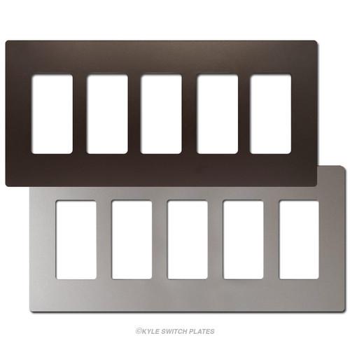 5 Decor Screwless Wall Plate Covers - Metallic Plastic