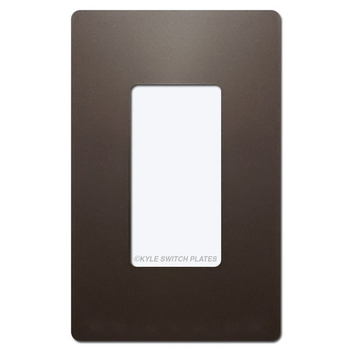 Dark Bronze Screwless Wall Switch Plate - Plastic 1 Gang Legrand