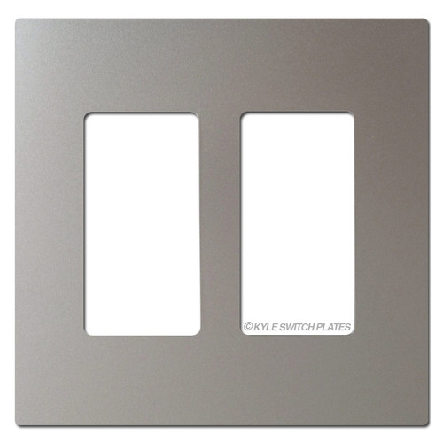 Nickel Screwless Light Switchplate - 2 Gang Plastic Legrand