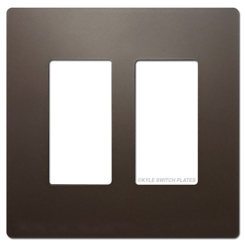 Dark Bronze Screwless Switch Wallplate - Plastic 2 Gang Legrand