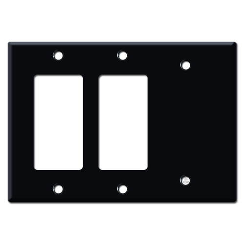 1 Blank 2 GFCI Decora Rocker Wall Plate Cover - Black