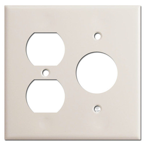 3 Plug Round Outlet + Duplex Outlet Cover Plates - Light Almond