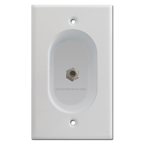 Recessed Coax Jack Outlet Cover for Flat TV - White