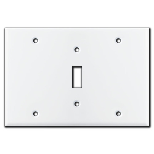 3-Gang Centered Toggle Wall Switch Plate - White