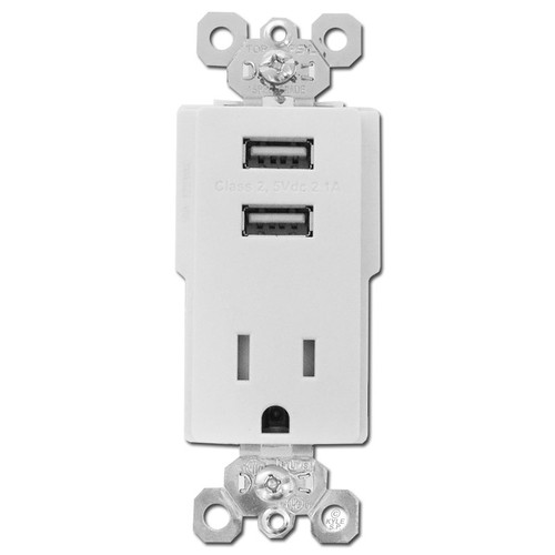 Dual USB Charger Wall Outlet 15A - White