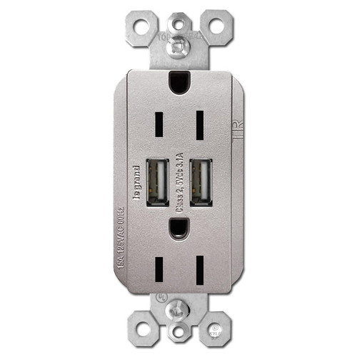 USB Receptacle Dual Charger 2 Port 2 Plug 15A - Nickel
