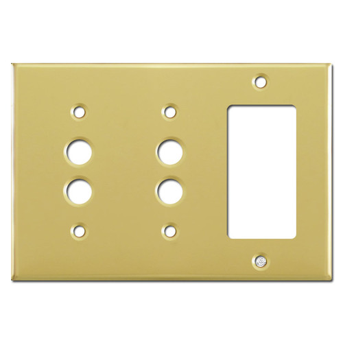1 Decora 2 Pushbutton Light Switch Cover - Polished Brass
