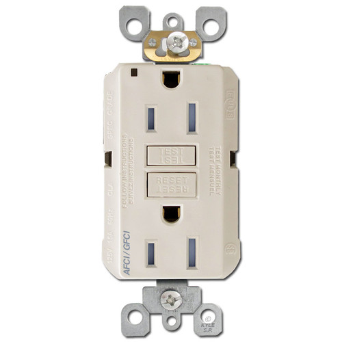 GFCI AFCI Receptacle 15A TR Leviton - Light Almond